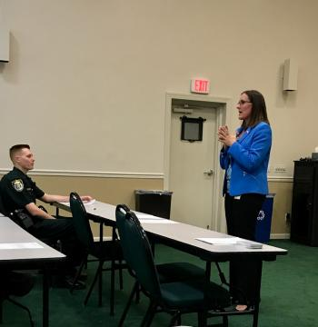 Judge Menz discusses Domestic Violence with Indian River County Deputies.