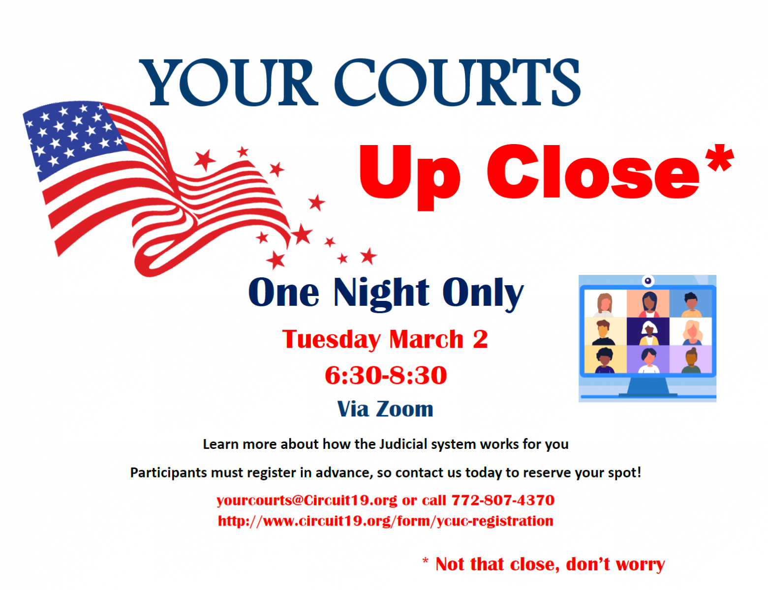 New for this year, Your Courts Up Close will be holding a One Night Only Zoom event on March 2nd